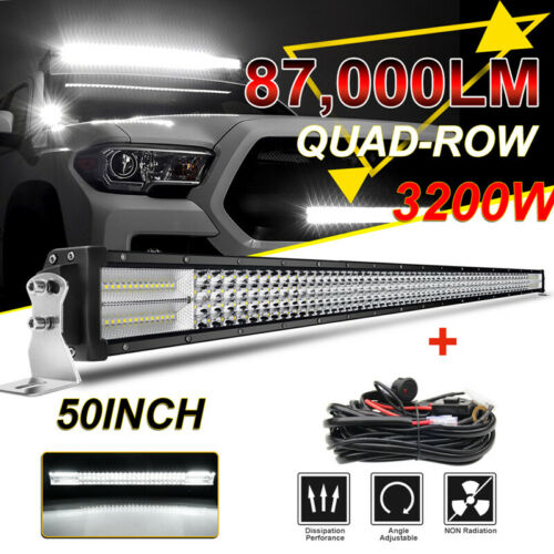 50/'/' 3200W Barre LED Rampe Light bar phare de travail SUV ATV wiring harness