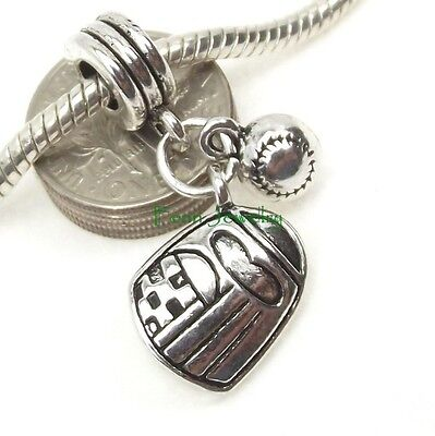 Baseball Softball Glove and Ball Dangle Large Hole for European Charm Bracelet