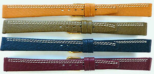 10mm-12mm-14mm-FLEURUS-FLAT-PIGSKIN-WATCH-BAND-CONTRAST-STITCH-LIGHT-WEIGHT