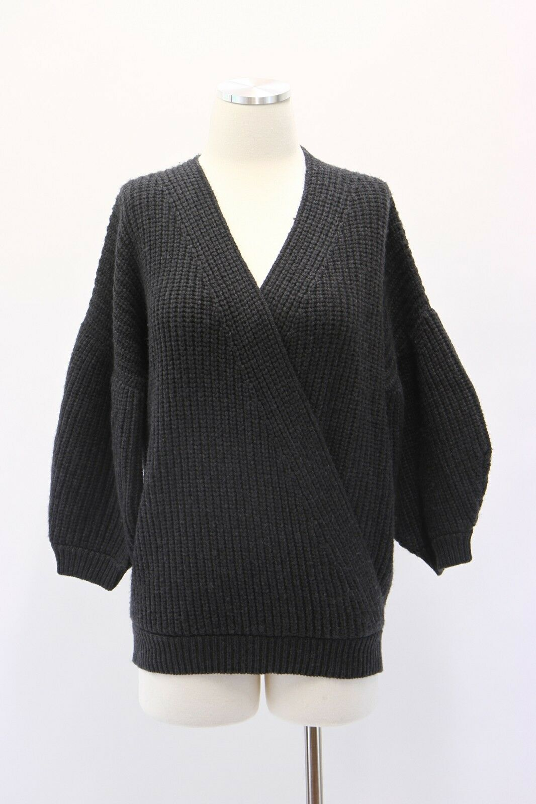 NWT Brunello Cucinelli 100% Cashmere Chunky Ribbed Wrap Sweater Size M A181