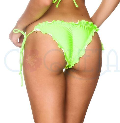 Coqueta Tie Side Bikini Bottom Cheeky Neon Green Ruffles Navy Itsy Bathing Suit