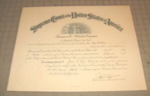 """1957 ATTORNEY OF THE US SUPREME COURT - Washington, DC 17.75"""" x 14"""" Certificate"""