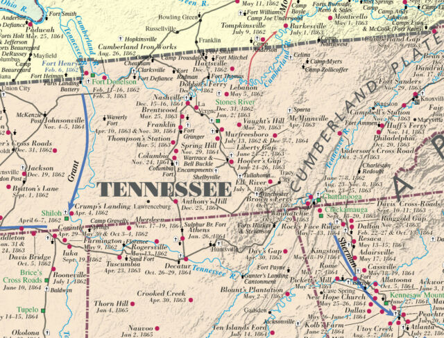 Civil War Battlefield Map 19 x 30 Gloss Coating 150th Anniversary Edition