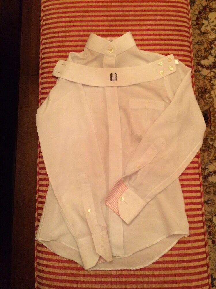 Cynthia Munro Hadfields Ltd. White Poly Show Shirt With 1 collar Girl's 12