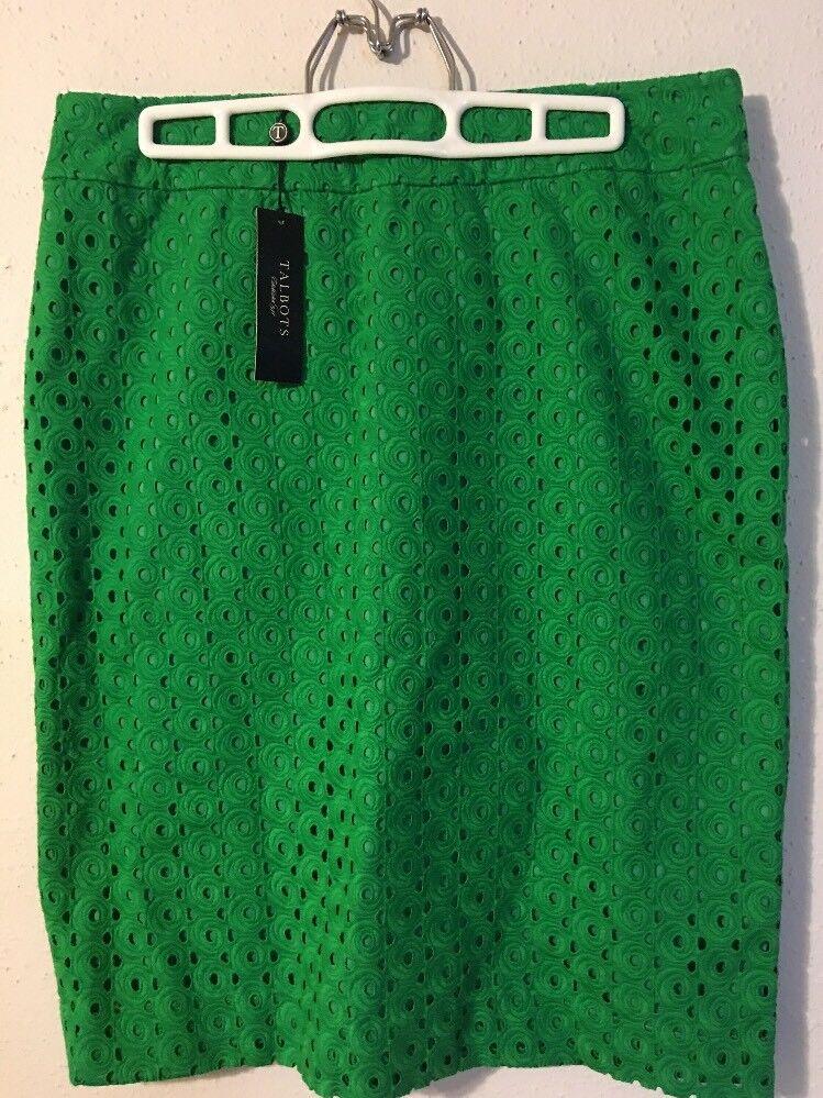 Talbots Women Pencil Skirt lined Green Sz 8  109