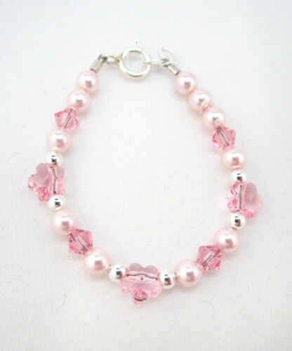 Baby and Child Bracelet with Pink Swarovski Pearls and Flower Crystals