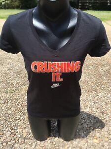 NEW-Women-039-s-Nike-Sportswear-CRUSHING-IT-Black-Orange-Training-T-Shirt-610120