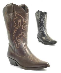 Senoras-para-mujer-BNIB-Autentico-Cuero-Cowboy-Western-Estilo-Botines-Zapatos-Botas-Tamano