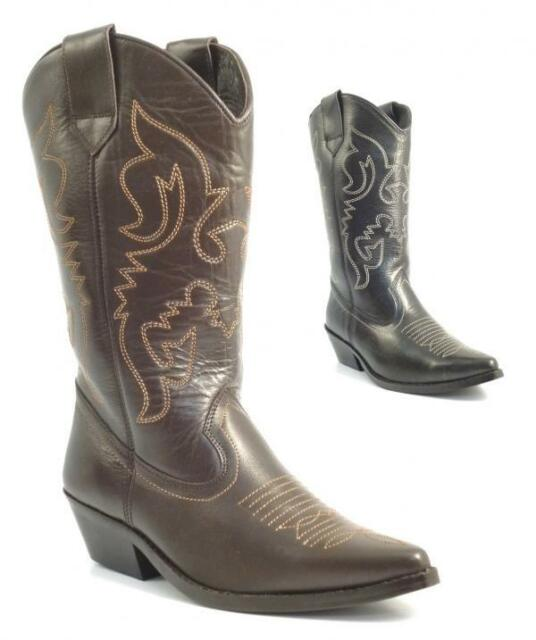 fe8889e4ee3 LADIES WOMENS BNIB REAL LEATHER COWBOY WESTERN STYLE ANKLE BOOTS SHOES BOOT  SIZE