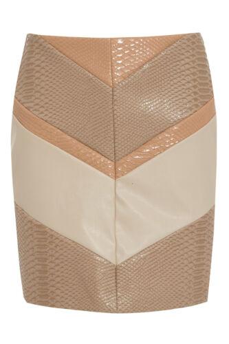 ex RIVER ISLAND Skirt River Island Chevron Snake Faux Leather A-line Skirt