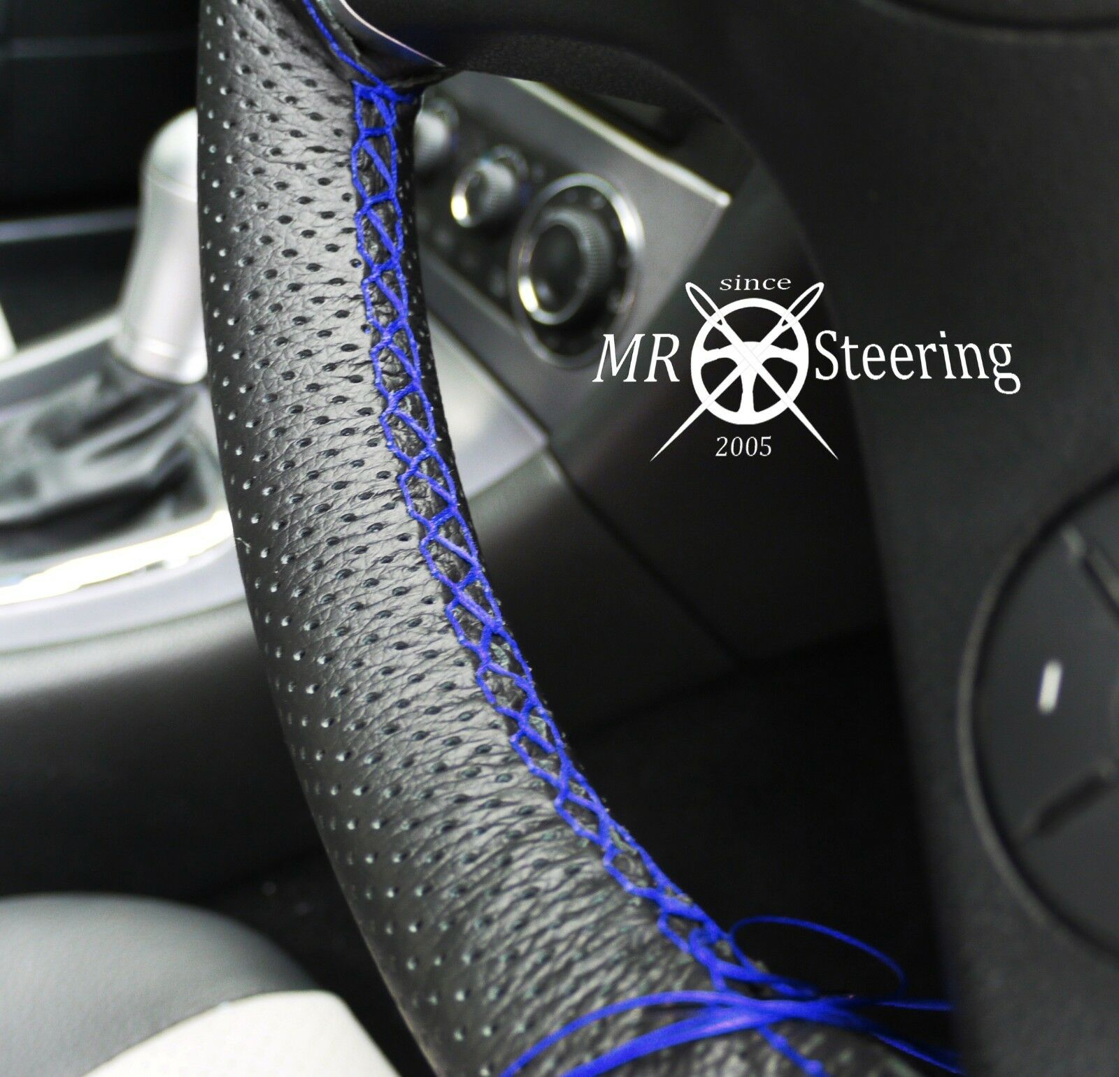 FOR MAZDA RX8 PERFORATED LEATHER STEERING WHEEL COVER 2003-12 ROYAL BLUE STRAP