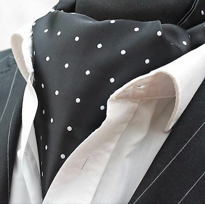 Pre-Tied Premium Quality Bow Tie YT02 Black with Small Silver Polka Dot