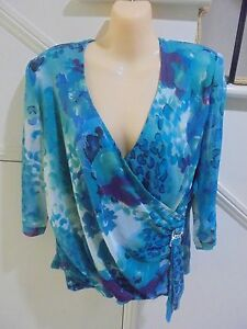 J-K-FASHION-NWOT-SIZE-18-TORQUOISE-PATTERN-EVENING-DIAMONTE-FEATURE-LINED-TOP