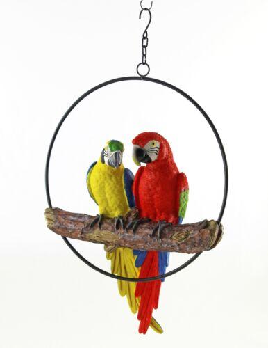 Moderne Dekofigur Garten Skulptur Papagei in Ring zum Hängen rot//gelb 36x40 cm