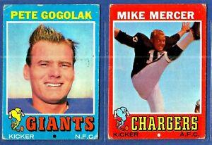 1971-Topps-Football-Cards-2-Card-Lot-P-Gogolak-M-Mercer-VG-EX-NYG-SD