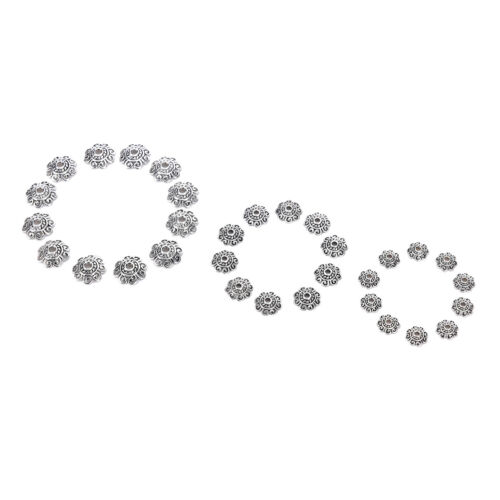 100x Antiqued Silver Flower End Bead Caps For Jewelry Craft DIY M/&R