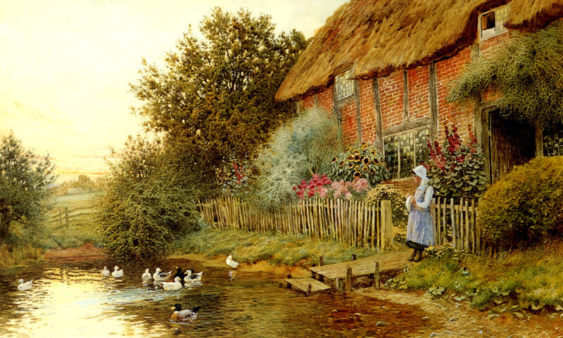 RUSTIC RETREAT COTTAGE BY THE WOOD LAKE DUCKS PAINTING BY CLAUDE STRACHAN REPRO