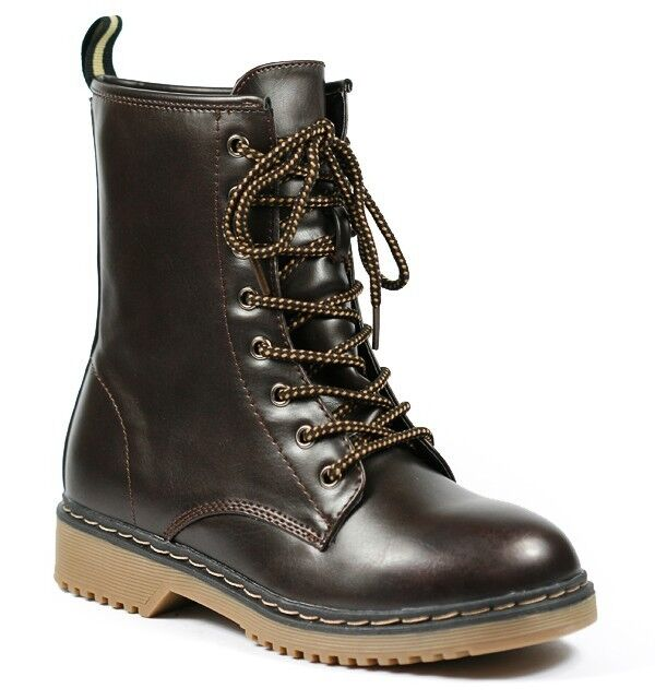 Dark Brown Faux Leather Round Toe Lace Up Mid Calf Military Combat Boot Forever