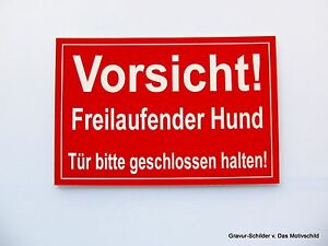 Schilder & Plaketten Vorsicht,freilaufender,hund,gravur,schild,warnschild,15 X 10 Cm,hundeschild,neu