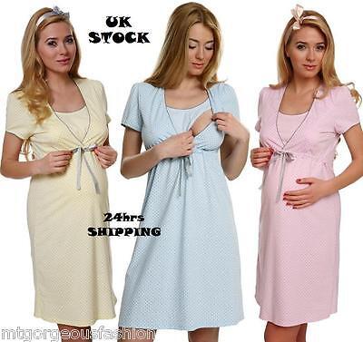 Maternity Pregnancy Breastfeeding Nursing Nightdress Uk Size 8 10 12 14 16 Tropf-Trocken