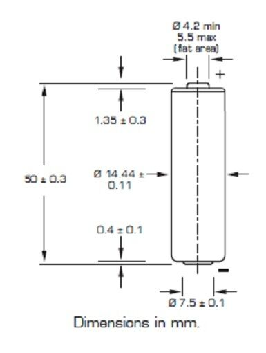 1 x lithium battery saft ls AA 14500