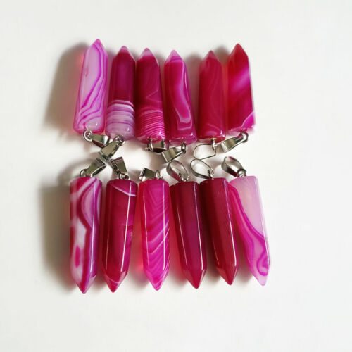 Wholesale 20pcs//lot Fashion rose stripe onyx Stone crystal pillar Point Pendants