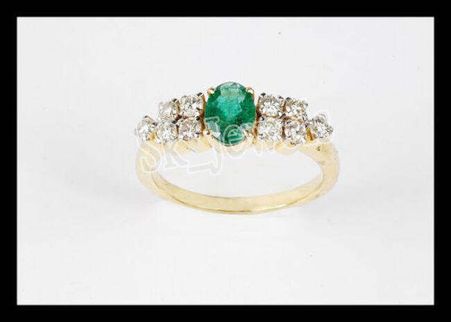0.30ctw ROUND DIAMOND EMERALD 14K YELLOW  gold ENGAGEMENT RING