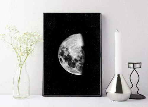 black and white half moon with stars drawing//painting print wall art A4