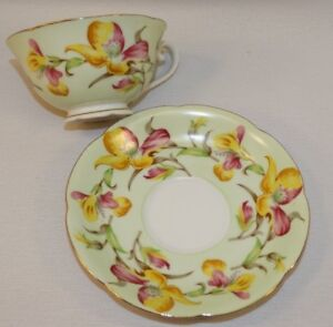 Details about VINTAGE JYOTO CHINA MADE IN OCCUPIED JAPAN CUP/SAUCER SET  PINK & YELLOW FLOWERS