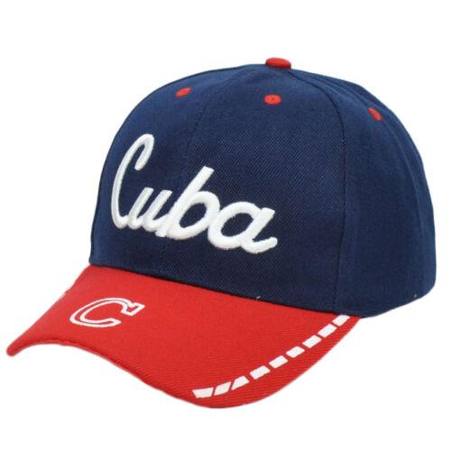 Cuba Bleu Marine pays rouge incurvée Bill Chapeau Casquette Réglable
