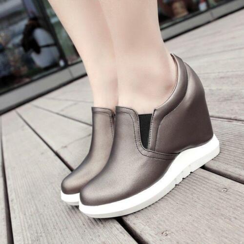 Womens Hidden Wedge Heel Slip On Pumps Sport Walk Sneaker Comfort Athletic Shoes
