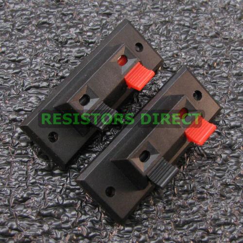 2x 2 Way Jack Spring Speaker Push Connector Terminal Strip Block 2pcs USA G31