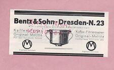 DRESDEN, Werbung 1928, Bentz & Sohn Kaffee-Filter-Papier Melitta
