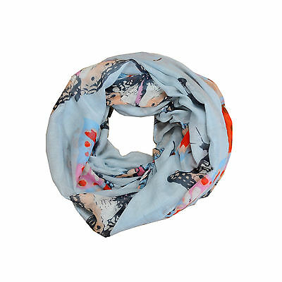 New Blue Butterfly Light Weiget X-Lgrge Infinity Scarf Loop Cowl