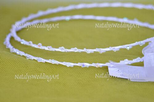 Handmade IVORY or  WHITE Orthodox Wedding Crowns  Tiaras  Stefana