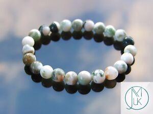 Tree Agate Natural Gemstone Bracelet 6-9'' Elasticated Healing Stone Chakra