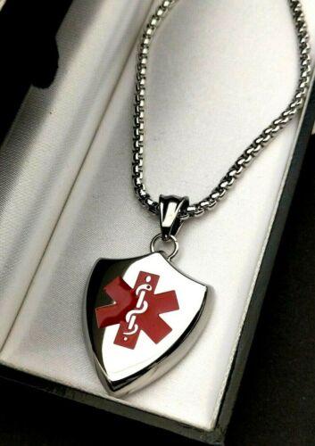 Mens Grande de Plata Acero SOS Talisman Grabado Collar de escudo de alerta médica