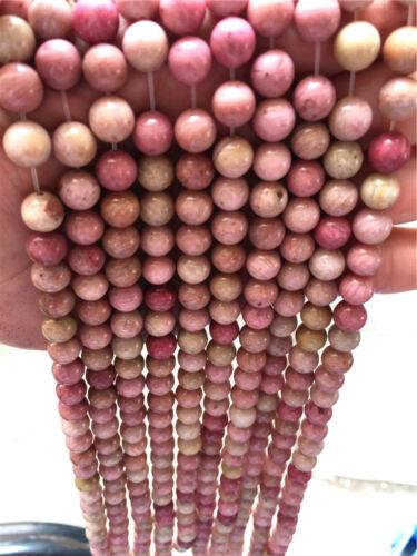 Diy 4//6//8//10//12mm Natural Stone rhodochrosite Round Beads fit bracelet necklace