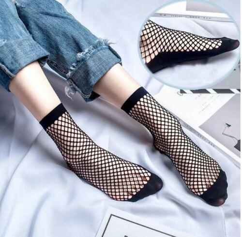 Black Fishnet ANKLE Socks Mesh Lace Anklet Fish Net Short Elastic Women UK Stock