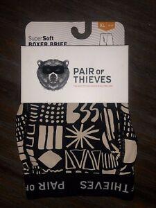 Men-039-s-Pair-of-Thieves-SuperSoft-Boxer-Brief-Underwear-Black-amp-Tan-Size-XL