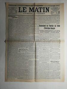 N447-La-Une-Du-Journal-Le-Matin-29-juin-1914-assassinat-heritier-Autriche