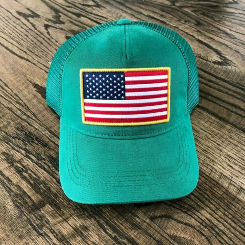 Kelly Green USA Flag Patch Trucker Cap Snapback Baseball Hat One Size $30 NEW!