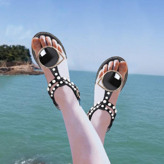Bohemia Donna Flip Flop Pearl T-strap Buckle Sandals Flat Casual Beach Shoes K