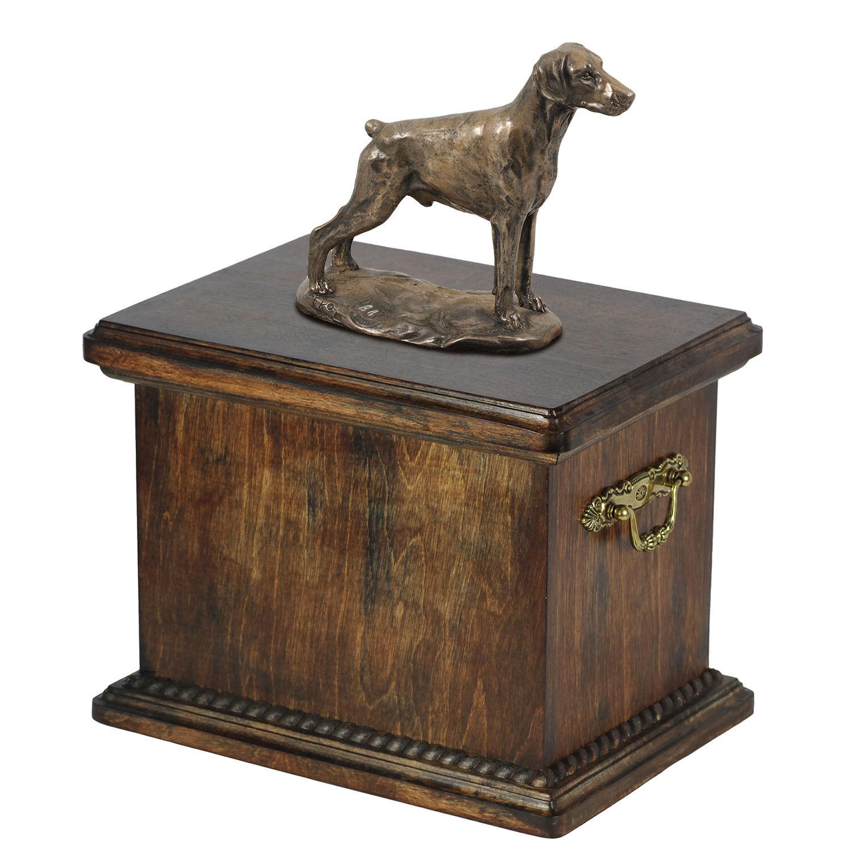Legno Scrigno Doberman Uncropped Commemorativo Urna per Cane Ceneri,con