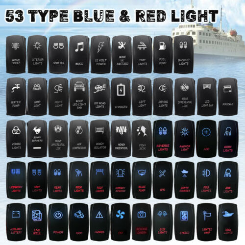 BLUE & RED Dual LED Rocker Switch ON OFF 5 Pin Car Boat Marine 4X4 4WD 12V