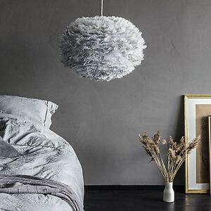 vita leben eos feder decken lampe schirm deckenlampe grau ebay. Black Bedroom Furniture Sets. Home Design Ideas