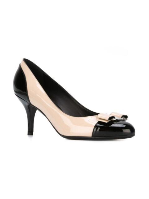 624636d02b05 New Salvatore Ferragamo Carla Black Beige Patent Leather Pump Women 9.5  625