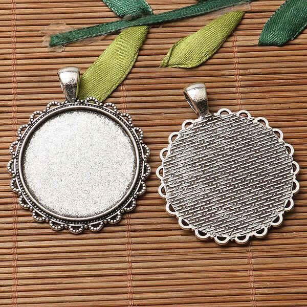 dark silver color floral  rim round cabochon setting in 25mm