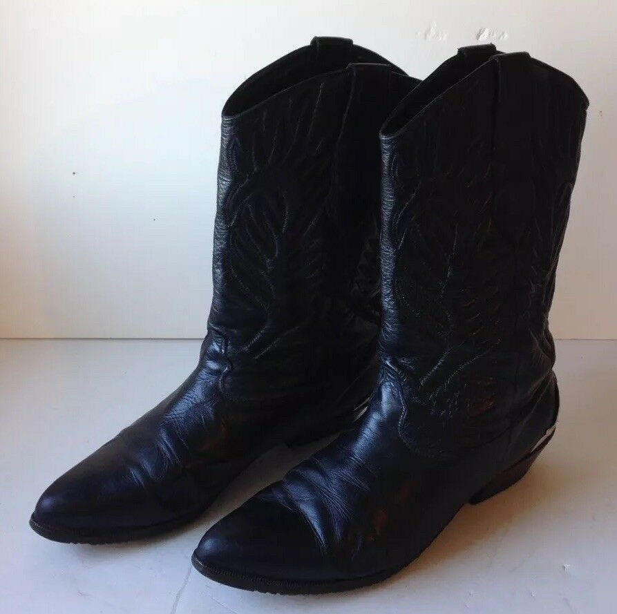 Vintage Zodiac Mujer Cuero Negro botas De Vaquero acentos de talón de plata de tamaño 9.5M