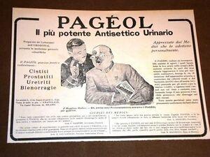 Pubblicita-d-039-epoca-per-Collezionisti-del-1918-Antisettico-urinario-Pageol